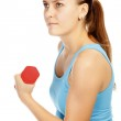 Girl with barbells — Stock Photo #7971618