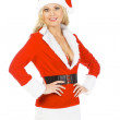 Christmas woman posing against white background — Stock Photo