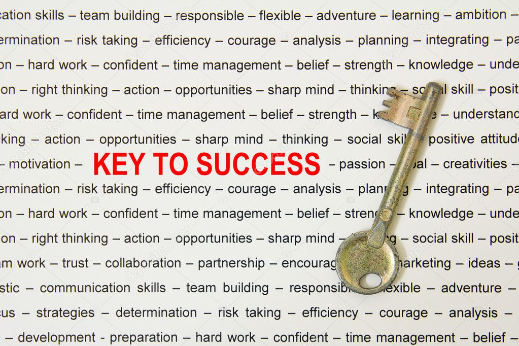 Old metal key to success concept on paper sheet — Stock Photo #10549228
