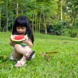 Happy child with watermelon — Stock Photo #9736105