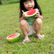 Happy child with watermelon — Stock Photo