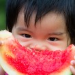 Baby eating watermelon — Stock Photo