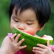 Baby eating watermelon — Stock Photo #9736598