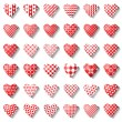 Heart icons set for valentine card. — Stock Vector