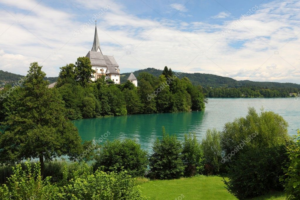 Lakeside landscape with church  Stock Photo #10198149