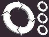 Set of circular arrows 3D — Stock Vector