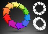Arrows color wheel 3D — Stock Vector