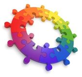 Puzzle Color Wheel 3D — Stock Photo