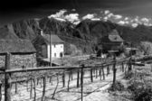 Infrared image of an alpine village — Stock Photo