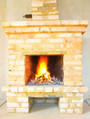 Old fireplace in the house — Stock Photo