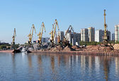 River port of construction sand — Stock Photo