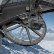 The mechanism of the lift for skiers in mountains — Stock Photo