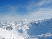 Snowy mountain range French Alpes — Stock Photo