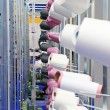 The colorful of the cone threads from textile factory — Stock Photo