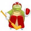Funny Turtle. Hockey Goalie. — Stock Vector