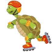 Grappige schildpad. roller. — Stockvector