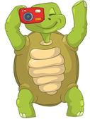 Funny Turtle. Tourist - Photographer. — Stock Vector