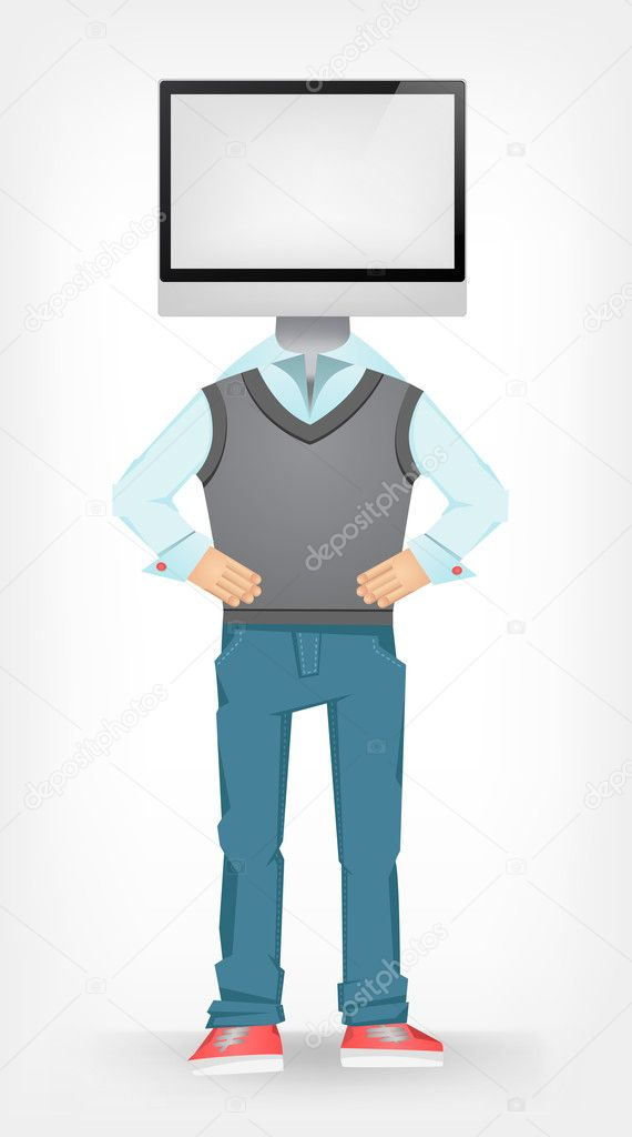 Computer Guy Isolated on Grey Gradient Background. Vector EPS 10. — Stock Vector #10560412