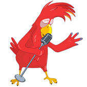 Funny Parrot Singing. — Stock Vector
