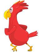 Running Funny Parrot. — Stock Vector