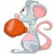 Stock Vector: Cartoon Character Mouse Boxer