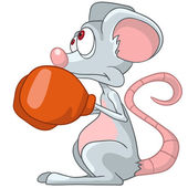 Cartoon Character Mouse Boxer — Stock Vector