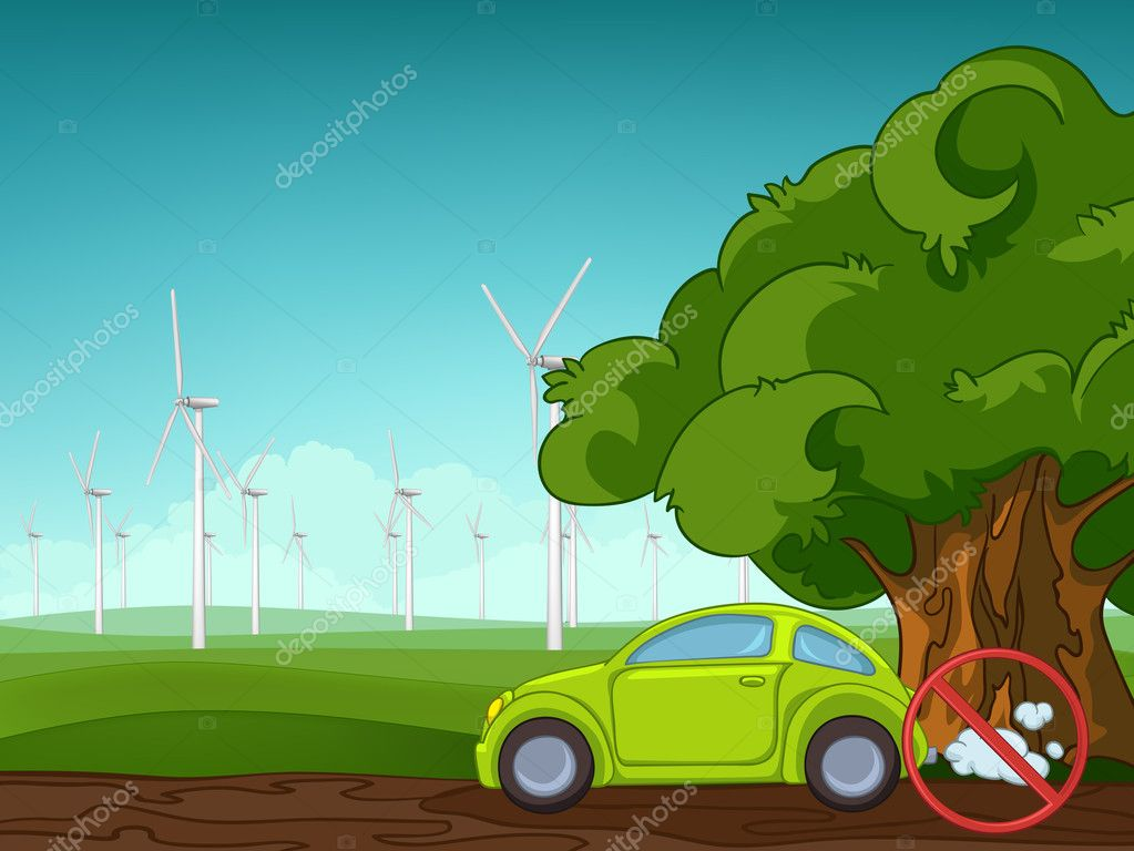 Summer Field Landscape with Green Car and Windmills. Eniroment Background. Vector.  Stock Vector #8715975