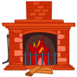 Stock Vector: Cartoon Home Fireplace