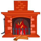 Cartoon Home Fireplace — Stock Vector