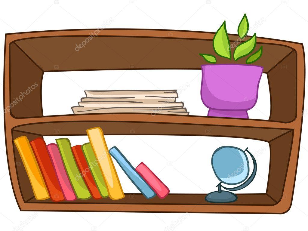卡通家具书架被隔绝在白色背景上.矢量– 图库插图图片