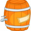 Cartoon Home Kitchen Barrel - Stock Vector