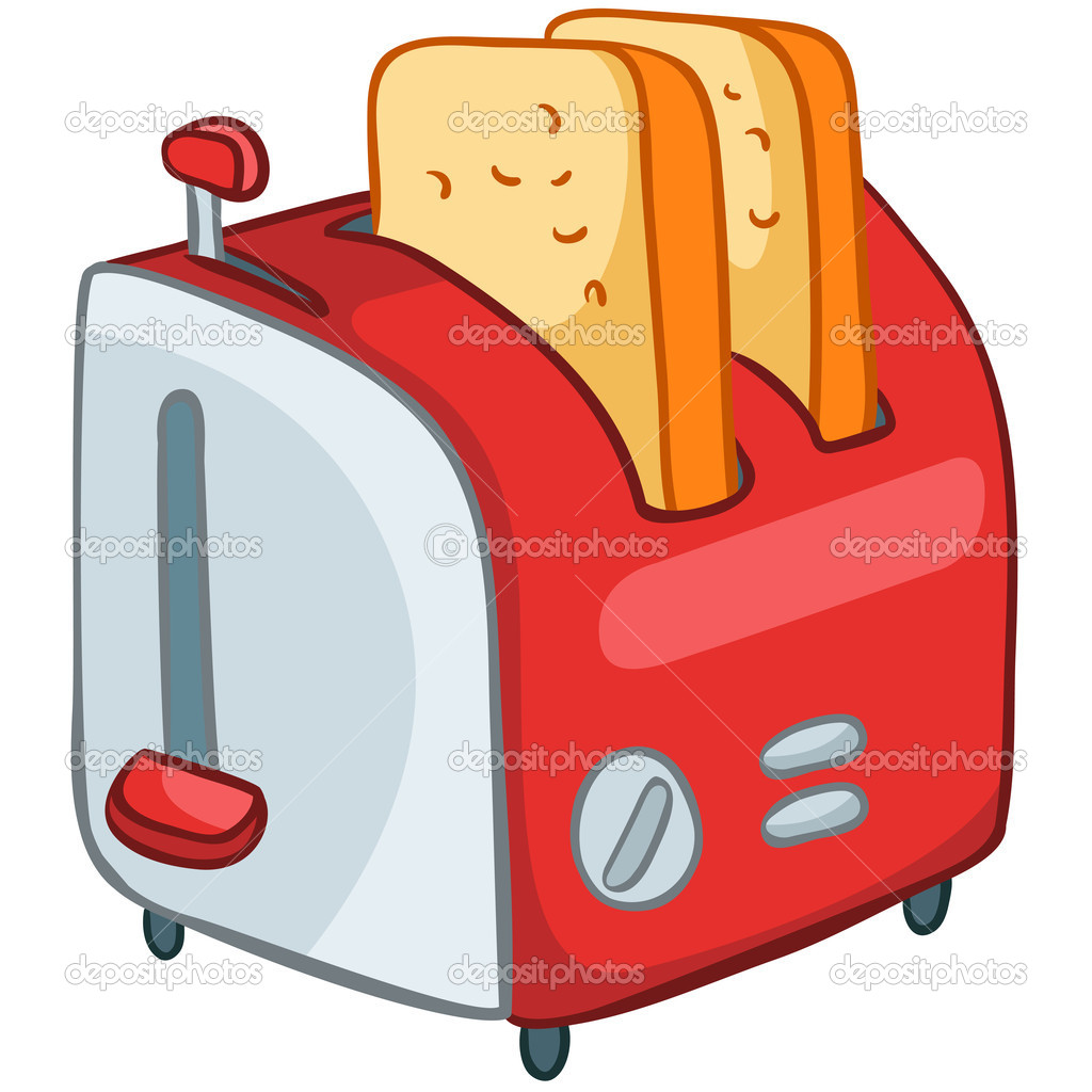 Cartoon home kitchen toaster stock illustration