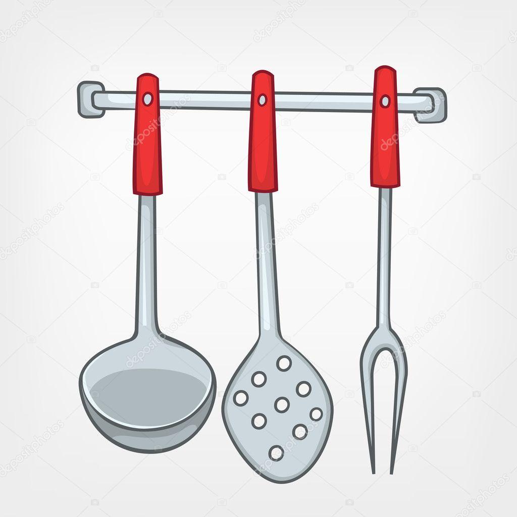Pin Cartoon Kitchen Utensils Stock Vector 66840298 Shutterstock on ...