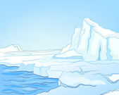 Cartoon Nature Landscape Arctic — Stockvektor