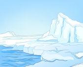 Dibujos animados naturaleza paisaje ártico — Vector de stock