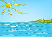 卡通自然风景海 — 图库矢量图片