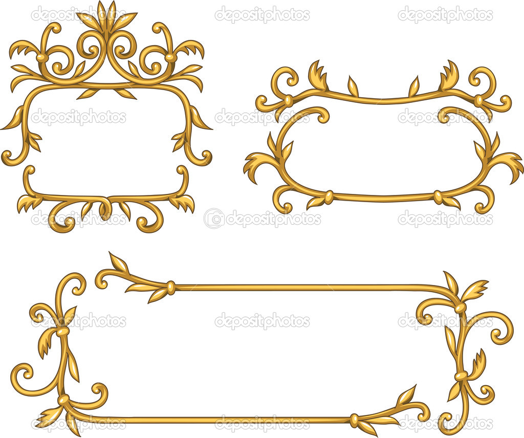 Set of decorative golden frames — Stock Vector #8615918
