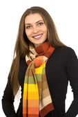 Beautiful girl in a colorful scarf — Foto de Stock