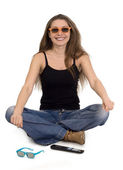 Meisje met 3d-bril — Stockfoto