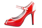 Female red high heel shoe, isolated — Stock Photo
