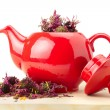 Red teapot with healing herbs — Stock Photo