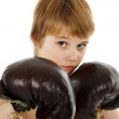 Young Boy Boxer with Boxing Gloves - Stock Photo