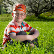 Boy sitting on field of grass — Stock Photo #10447840