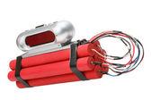 Tnt time bomb with alarm clock detonator — Stock Photo