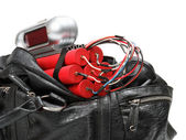 Tnt time bomb with alarm clock detonator is in bag — Stock Photo