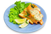 Slice of salmon on toast — Stock Photo