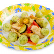 Tasty dish: chicken breast with vegetables and potato dumplings — Stockfoto