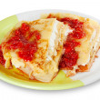 Pancake with cheese and raspberry jam - Stock Photo