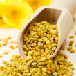 Bee pollen in wooden scoop, yellow flowers as background — Stock Photo