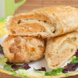 Pie with fish mince filling, roll of puff pastry — Stock Photo